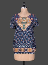 Navy Blue Floral Print Rayon Top - GOODWILL