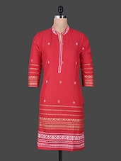 Red Printed Quarter Sleeved Cotton Kurta - By