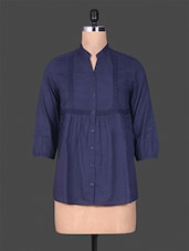 Navy Blue Pin Tuck Cotton Top - GOODWILL