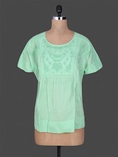 Solid Green Embroidered Cotton Top - GOODWILL