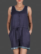 Navy Blue Sleeveless Rayon Romper - By