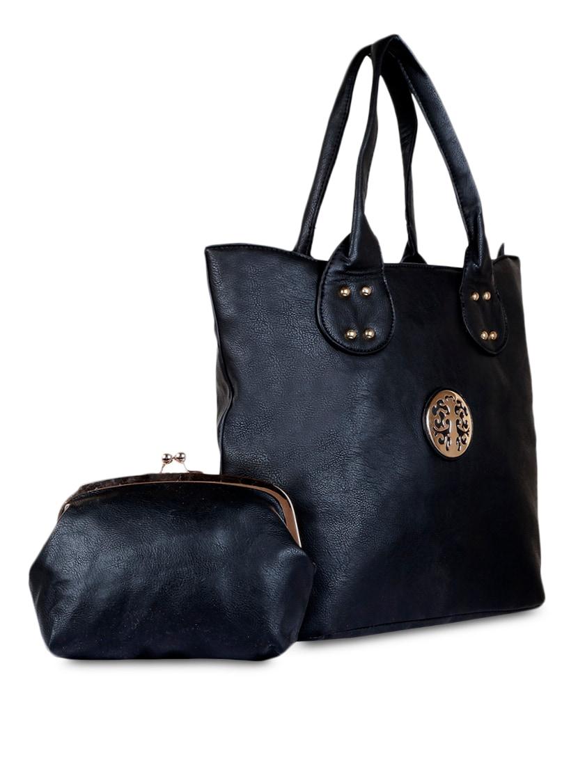 Plain Solid Black Leatherette Handbag - SATCHEL Bags