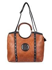 Studs Embelished Leatherette Handbag - SATCHEL Bags