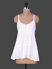 Solid White Strappy Cotton Top - By