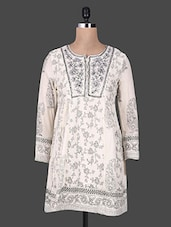 Off-white Floral Print Cotton Kurta - By