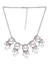 White Patterned Faux Pearl Bold Necklace - By