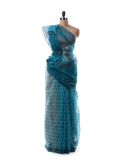 Turquoise Sheer Blue Hand Block Printed Saree - Nanni Creations