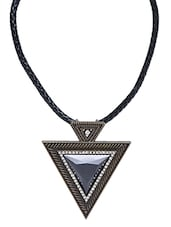 Black Patterned Pendant Necklace - By