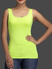 Sleeveless Round Neck Solid Green Color Top - By