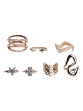 Gold lace metallic rings (Set of 7) -  online shopping for rings