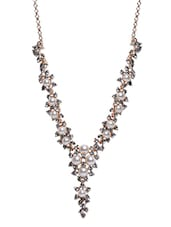 Black Embellished Metallic Necklace - By