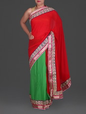 Red And Green Gota Patti Work Georgette Saree - Roop Pari