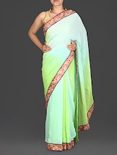 Shaded Green Embroidered Georgette Saree - By
