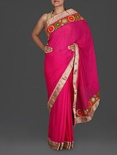 Pink Georgette Saree With Gold Gota Border - Roop Sha