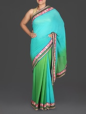 Green And Blue Embroidered Georgette Saree - Roop Sha