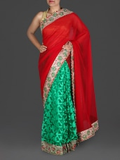 Red And Green Embellished Georgette Saree - Roop Sha