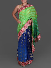 Green And Blue Bandhej Printed Georgette Saree - By