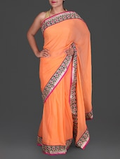 Orange Embroidered Georgette Saree - By
