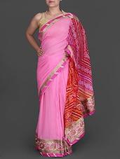 Pink Bandhej Printed Georgette Saree - By