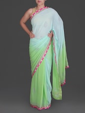 Blue And Green Georgette Saree - By