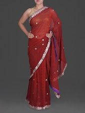 Red Georgette Saree With Gota Patti Work - Roop Tara