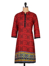 Red Printed Jacquard Cotton Kurti - By