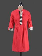 Pleated Yoke Roll Up Sleeves Cotton Kurta - Shwetna.com