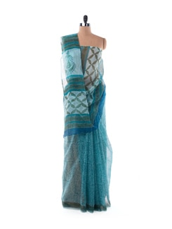 Green-blue Sheer Kota Hand Block Printed Saree - Nanni Creations