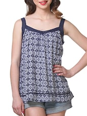 Blue Rayon Printed Top - By