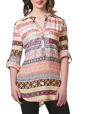 Ethnic Print Roll Up Sleeves Rayon Top - Purys