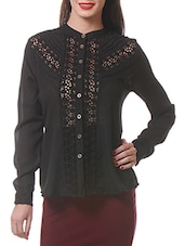 Black Lace Inset Button Down Shirt - By
