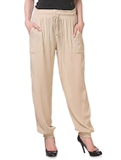 Solid Beige Rayon Pants - By