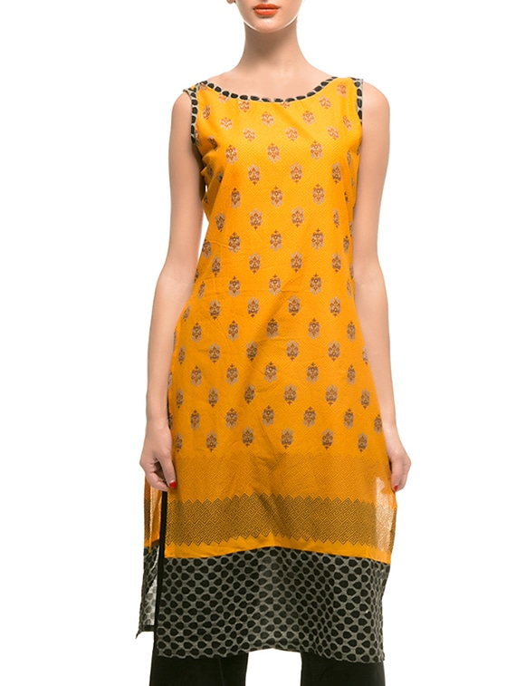 Yellow Cotton Straight Kurta - By