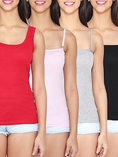 set of 4 multicolored cotton camisoles -  online shopping for Camisoles