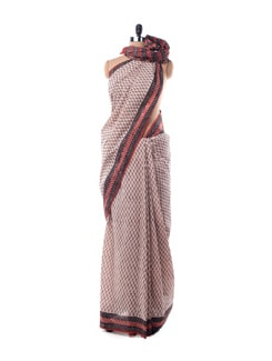 Off-white Floral Printed Cotton Saree - Nanni Creations