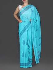 Turquoise Printed Chiffon Saree - By