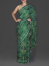 Green Bandhej Printed Georgette Saree - By