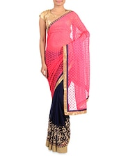 Pink And Navy Blue Embroidered Saree - By