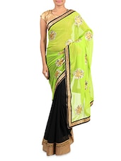 Green And Black Embroidered Georgette Saree - By