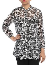 Mandarin Collar Floral Print Georgette Shirt - By