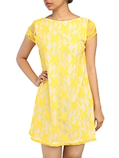 Yellow Lace Overlay Shift Dress - By