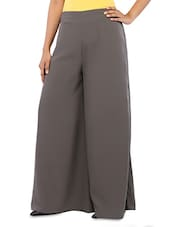 Plain Solid Grey Crepe Palazzo - By