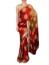 Multicolored Art Crepe Printed Sari With Zari Trim - By
