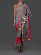 Sequined Grey Net Saree - By