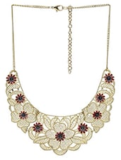 Gold Filigree Embellished Chained Necklace - By