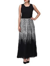 Black Georgette Printed  Long Dress - By