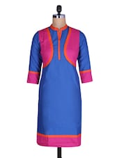 Pink And Blue Casual Cotton Kurti - By