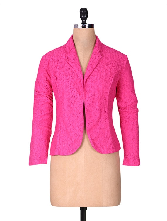 Solid Pink Net Jacket - By