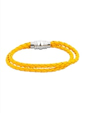 Yellow Faux Leather Band With Magnet Lock - By