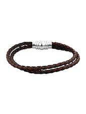 Brown Faux Leather Band With Magnet Lock - By
